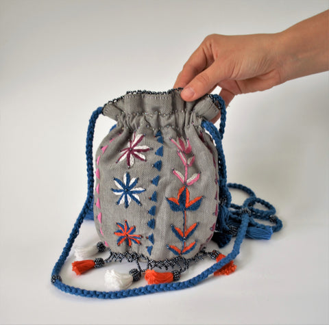 Drawstring pouch purse, Gray crossbody bag, Ethnic embroidery, Makeup bag