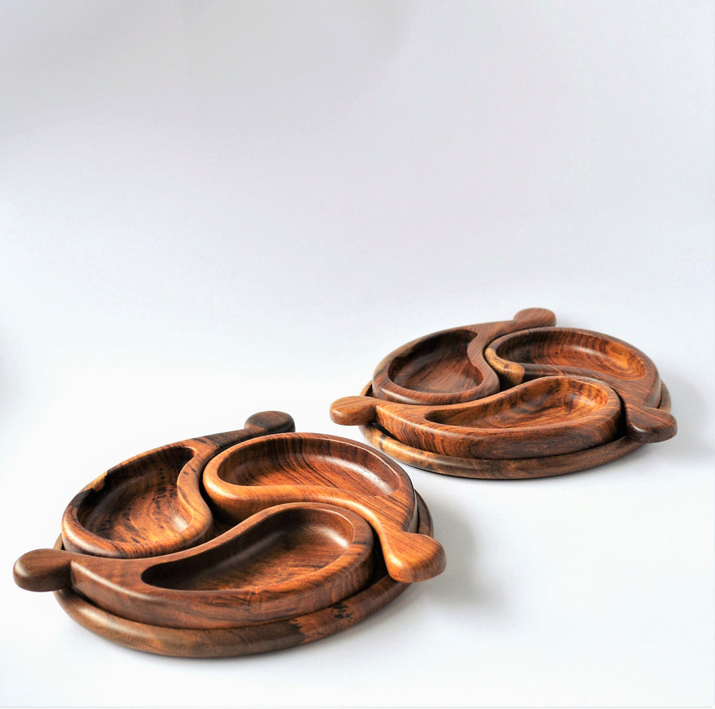 Three portions wooden Snack Platter