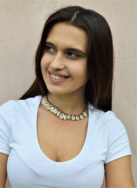 Cowrie shell choker, Leather necklace