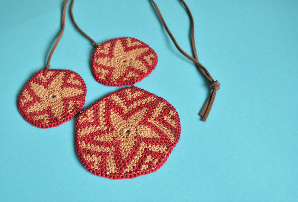 Macrame star necklace, African plates necklace, Crochet necklace