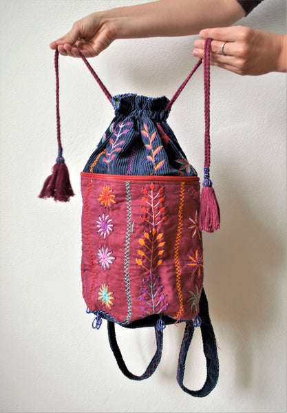 Drawstring boho backpack, Blue embroidered bag