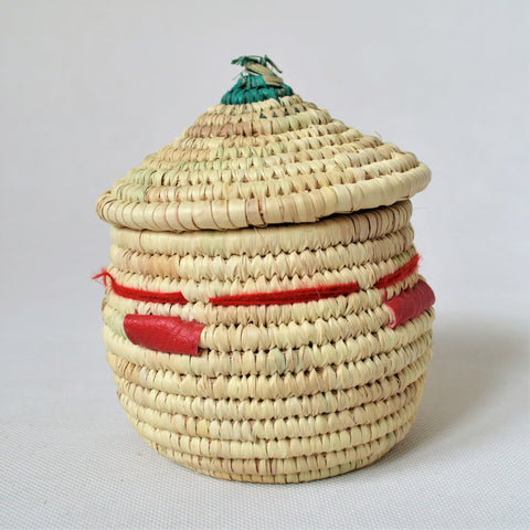 Woven African basket with a fitted lid