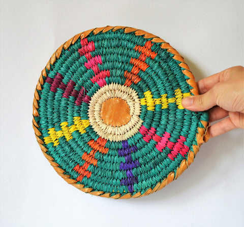 Unique woven Trivet, Nubian wall Decor, Leather and wicker