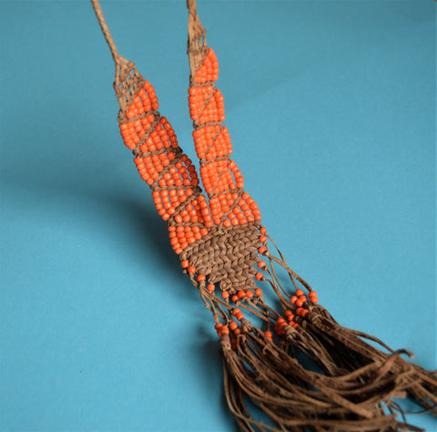 Hippy necklace leather and orange beads