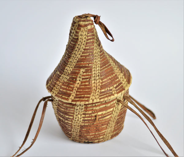 "Egyptian woven leather basket , Ethiopian-style ""Gabana"" basket with lid"