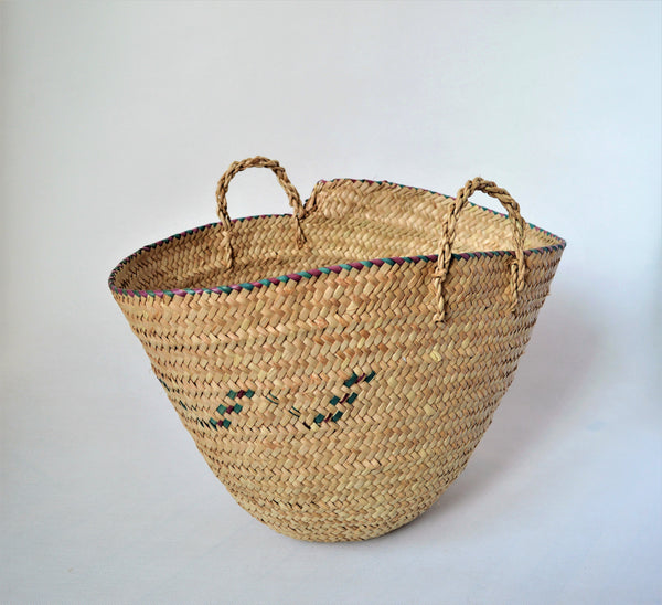 Simple straw basket made from doum palm leaves (Egypt made)