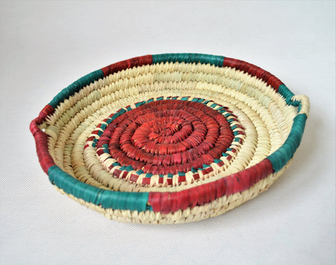 Palm leaves wicker retro tray, Decor woven plate