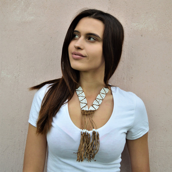 White beads long leather necklace