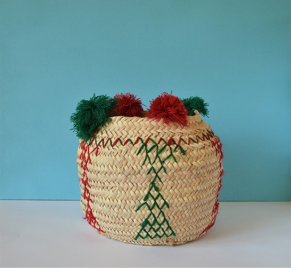 Handmade belly basket, Embroidered woven basket