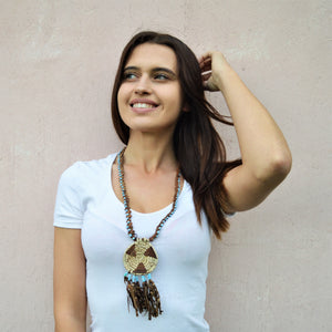 Woman leather necklace, Tribal jewelry