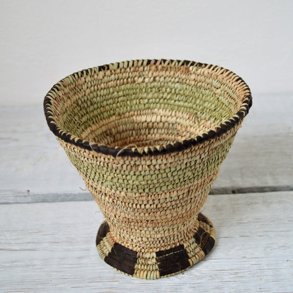 Woven rustic bowl with cup shape