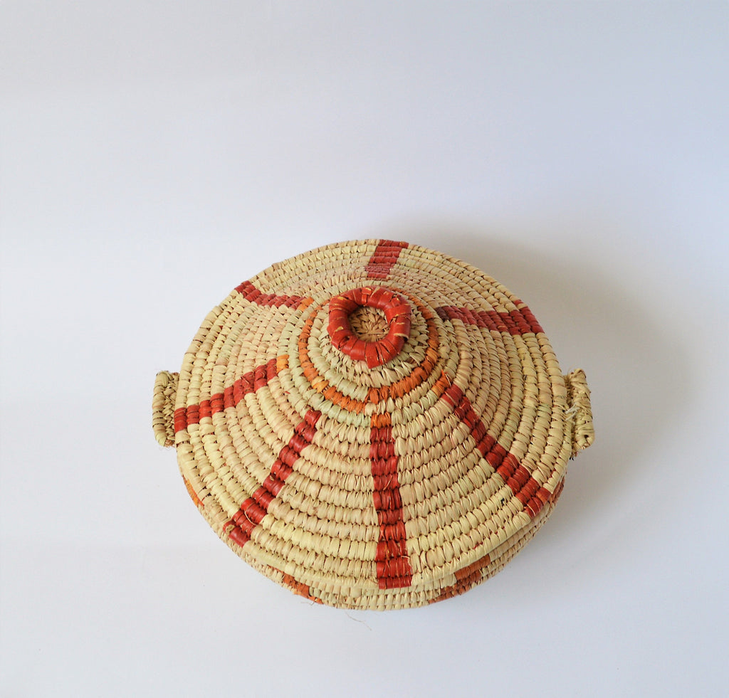 African basket with lid, Orange basket