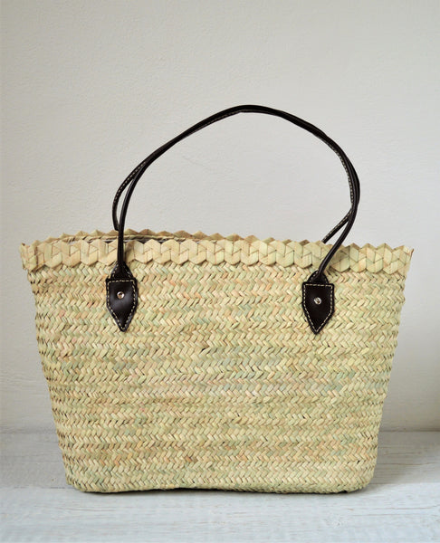 French basket with leather handles