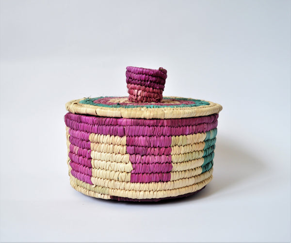 Woven container with lid, Colorful traditional basket