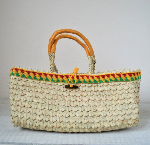 Decorated straw bag, African basket bag