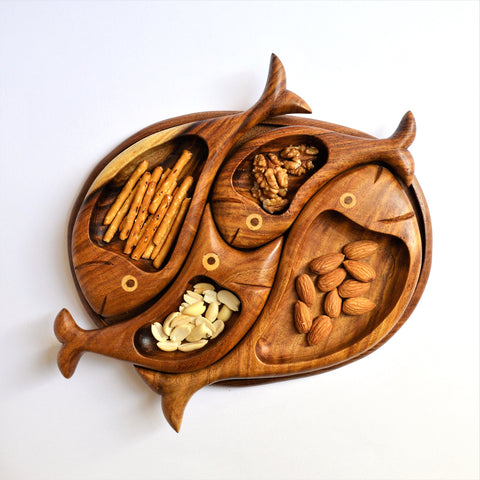 4 fish hand-carved Christmas platter