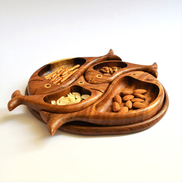 Hand carved 4 fish snacks platter Decorative mid century style