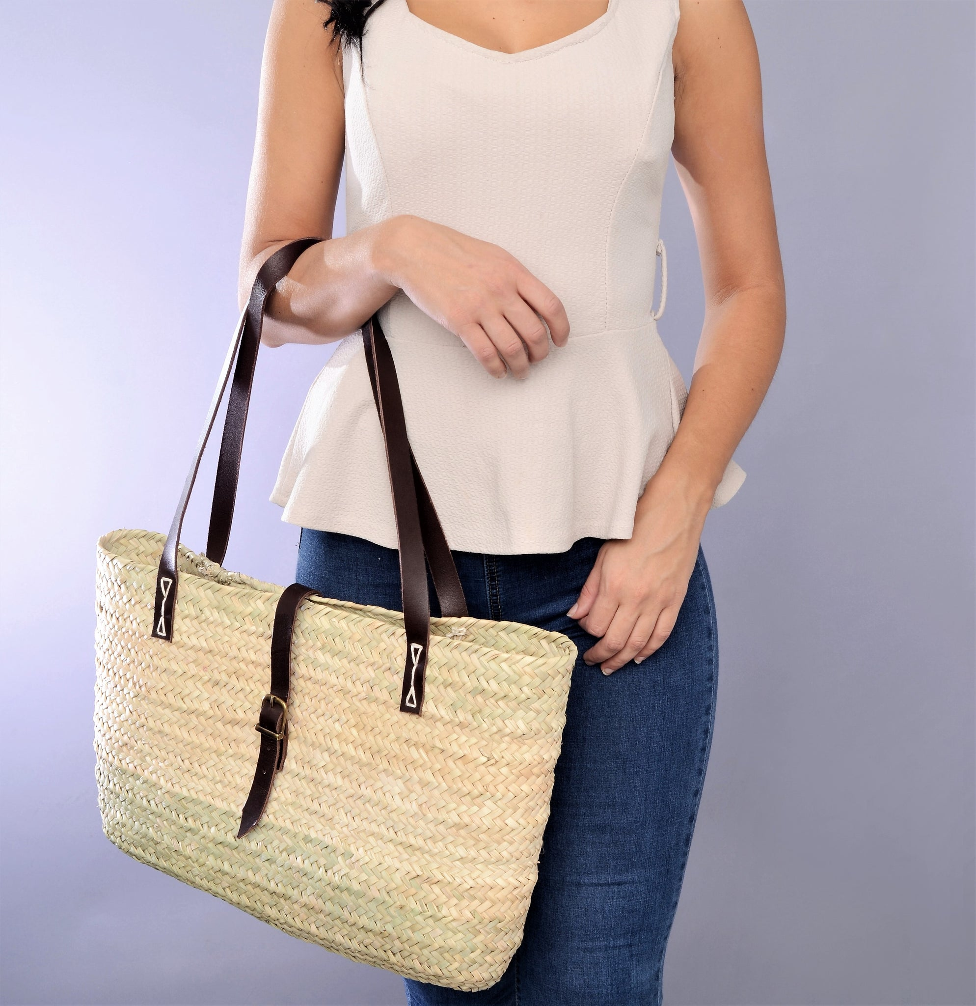 Straw tote bag, Straw women bag, genuine leather handles