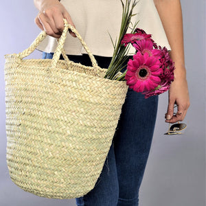 Spring palm leaves basket bag