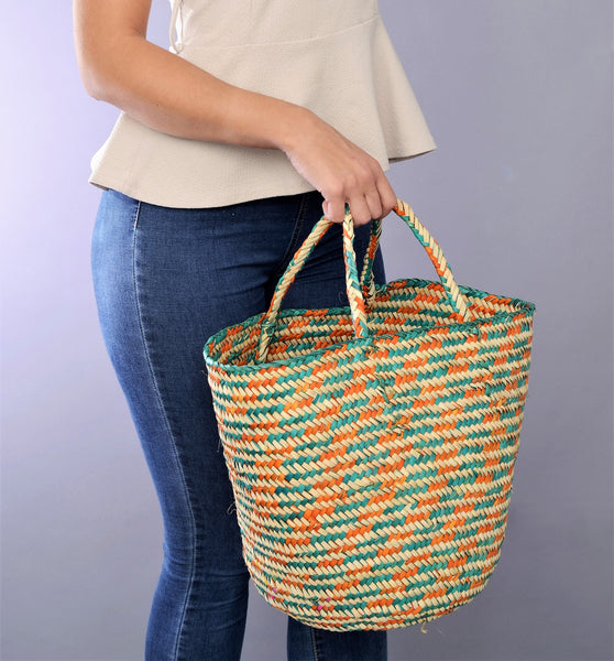 Happy palm leaves colorful basket bag