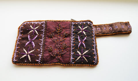 Hand embroidered woman wallet, Brown red color