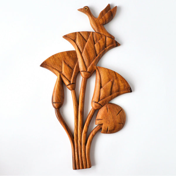 Bird on Lotus, wood decor, wall hanging