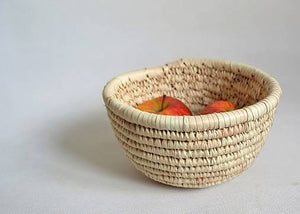 Natural woven bowl for fruits and bread
