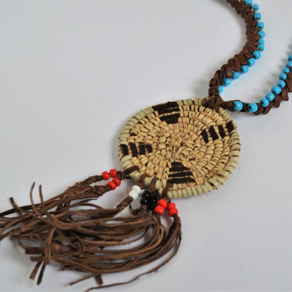 Woman leather necklace, Ethnic necklace, African style jewelry