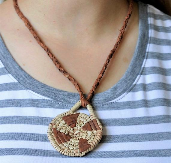 Hippie woman necklace, Leather necklace, Tribal handmade jewelry