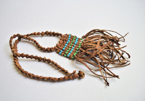 Braided leather choker, Natural leather necklace, Ethnic Egyptian necklace