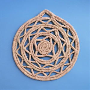 Woven placemat with geometric design, Palm leaf round trivet, Wall decor plate