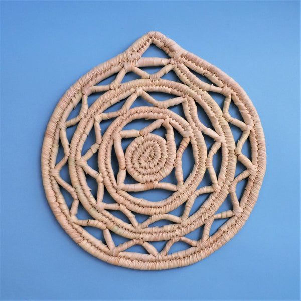 Woven Egyptian Placemat trivet from natural palm straw