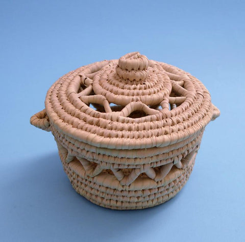 Round woven decor basket, Decorative bowl with lid Arabic design