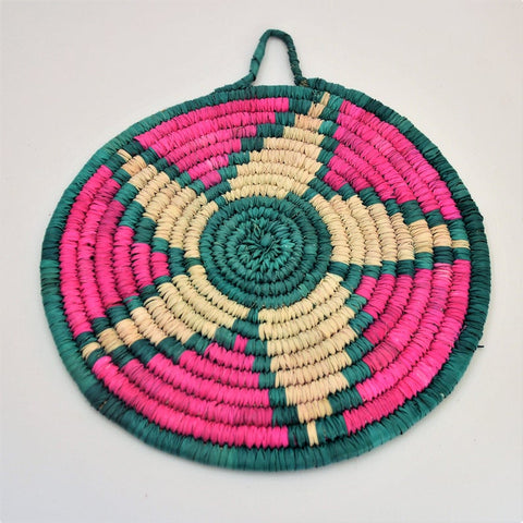 Boho woven Trivet, African plate, Palm leaves from palm straw, Mandala decor plate, Wall art, Sustainable art, Recycled art