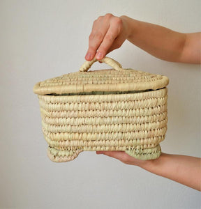 Woven Moroccan basket, Wicker straw box