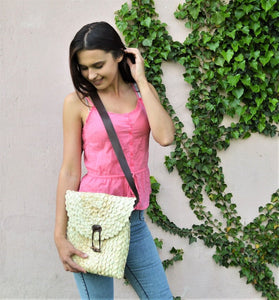 Cross body beach bag, Woven Straw purse with leather handles