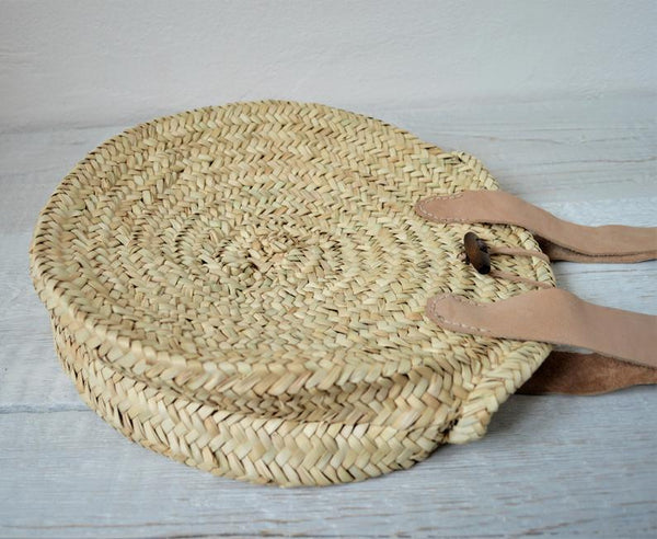 Round straw bag, Beach Handbag