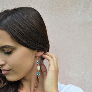 Boho leather drop earrings (light blue beads)