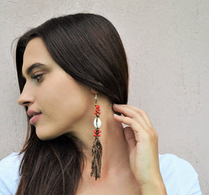 Leather dangle earrings