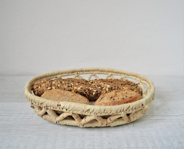 Hand woven bread basket, Boho platter, Egyptian palm baskets