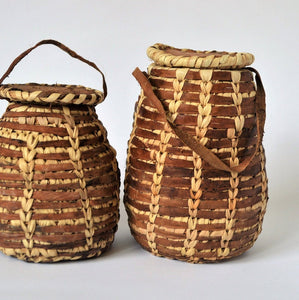 2 decor leather baskets