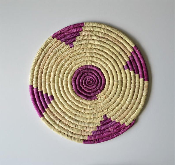 Woven Wall basket, Purple Decor plate, Wicker African basket, Handwoven plates, Egyptian baskets, Nubian colorful baskets, Bohemian decor