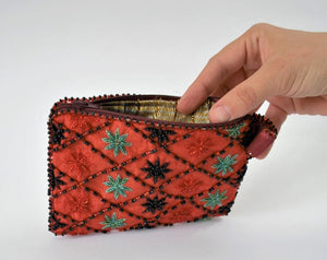 Red embroidered purse, Beaded Sinai wallet