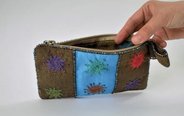 Blue Hand embroidered purse, Beaded, Egypt purse