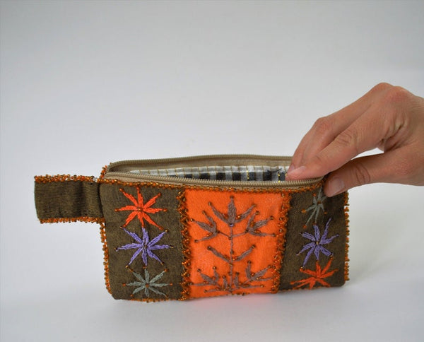 Orange embroidered purse, Beaded Sinai wallet