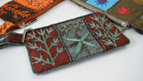 Leaves embroidery woman purse, Egyptian handmade embroidered wallet