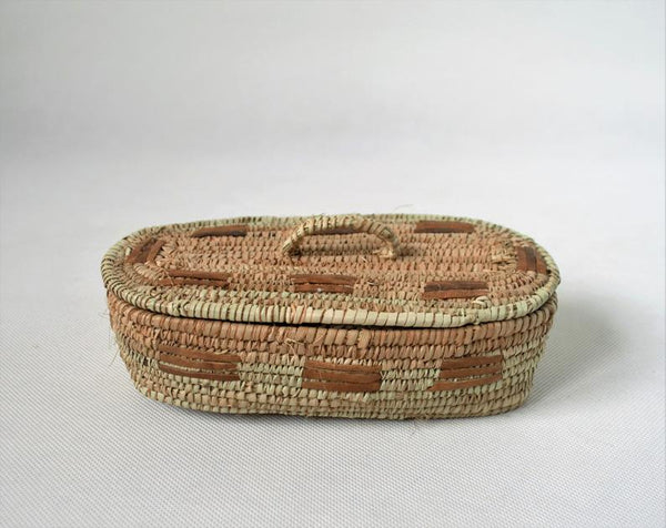 Rustic straw rectangle box (doum palm leaves)