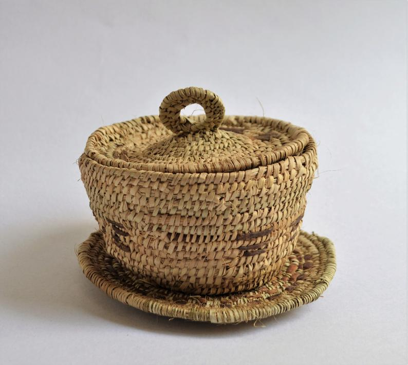 Shalateen woven box and a plate - Natural palm leaf and leather product