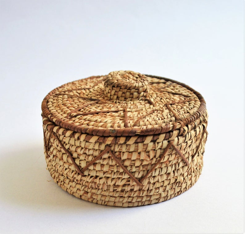 Rustic Wicker Jewelry Box - Palm leaf and leather authentic Egyptian