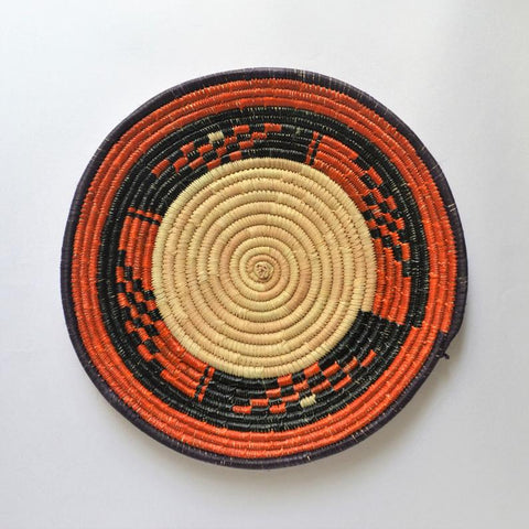 African woven palm leaf basket (Hot orange)